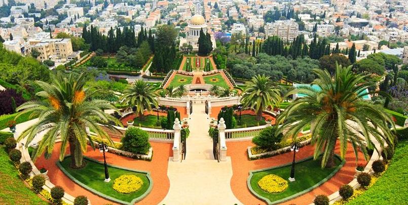 park of Bahai Gardens in Haifa Israel